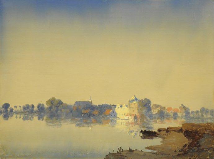 Jan Voerman Sr. (1857-1941 Hattem) - A View of Hattem, 1920