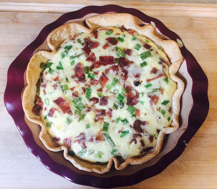 1 refrigerated pie crust   12 slices of bacon, fried and coarsely chopped   1 1/2 cups shredded swiss cheese   6 green onions, chopped ...