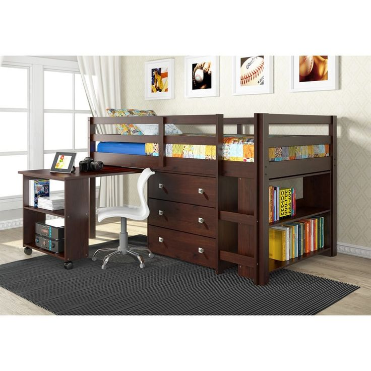 Shop Pivot Direct  PD_760 Donco Kids Study Low Loft Bed with Desk, Chest and Bookcase at The Mine. Browse our bunk beds, all with free shipping and best price guaranteed.