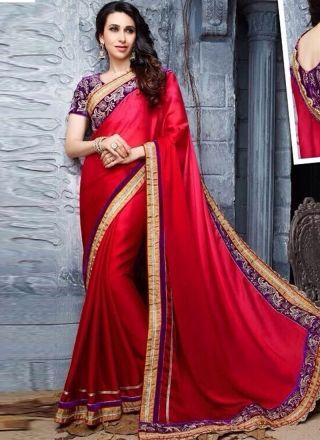 Karishma Kapoor Dark Pink Chiffon Designer Party Wear Saree http://www.angelnx.com/