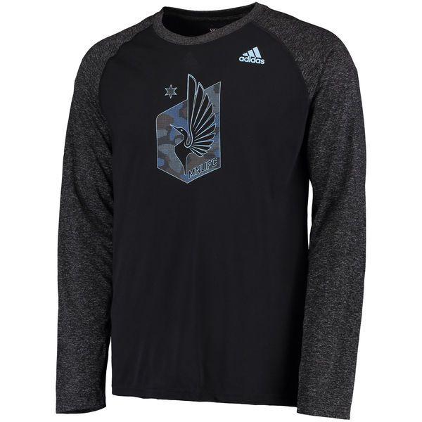 Men's Minnesota United FC adidas Black/Heathered Black Tactical Logo Ultimate Long Sleeve T-Shirt