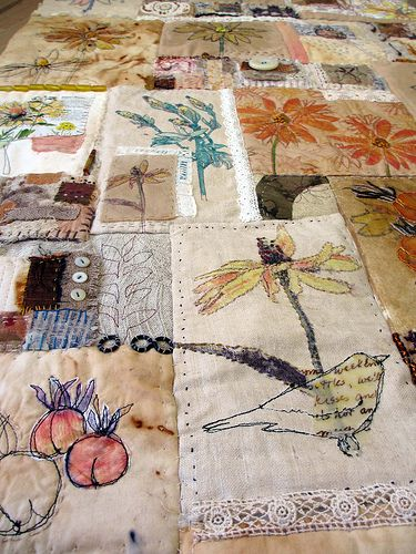 Jane LaFazio. Use idea so less reliant on background fabric- quilt, stitch in images. Use stitch to flow through work?