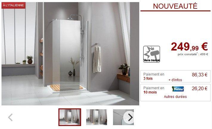Paroi de douche à l'italienne VANESSA avec miroir pas cher 90x200cm prix promo Paroi de douche Vente Unique 249,99 €