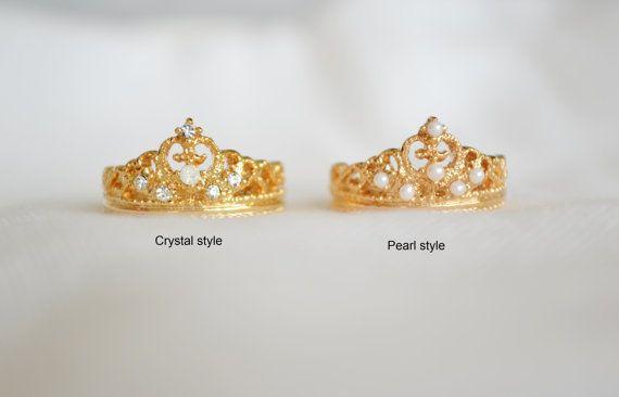 crown rings cz crown ringtiara ringsprincess by FlowerLovejj