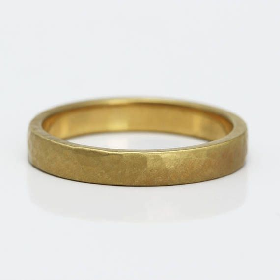 Ethical Gold Ladies Wedding Ring 3mm Wide Hammered Ring