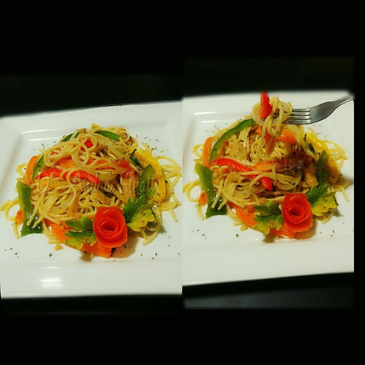 Salted cod and vegetable spaghetti #spaghetti #saltedfish #caribbean