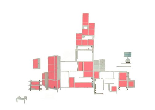 "Leslie Mutchler/ Collage. White Storage (West Elm Spring 2006). 30"" x 40"""