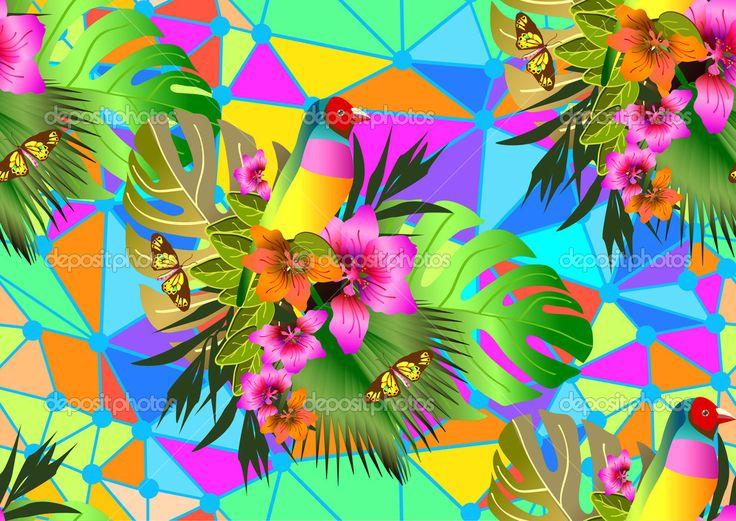 Цвет тропические цветы и листья бесшовный фон - Векторная картинка: 51245725
