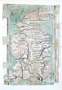 Map of England, Scotland and Wales, Ms Royal 14.C VII, fol 5...  by Matthew Paris