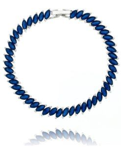 pulseira de zirconias navetes azuis safira leitosa semijoias