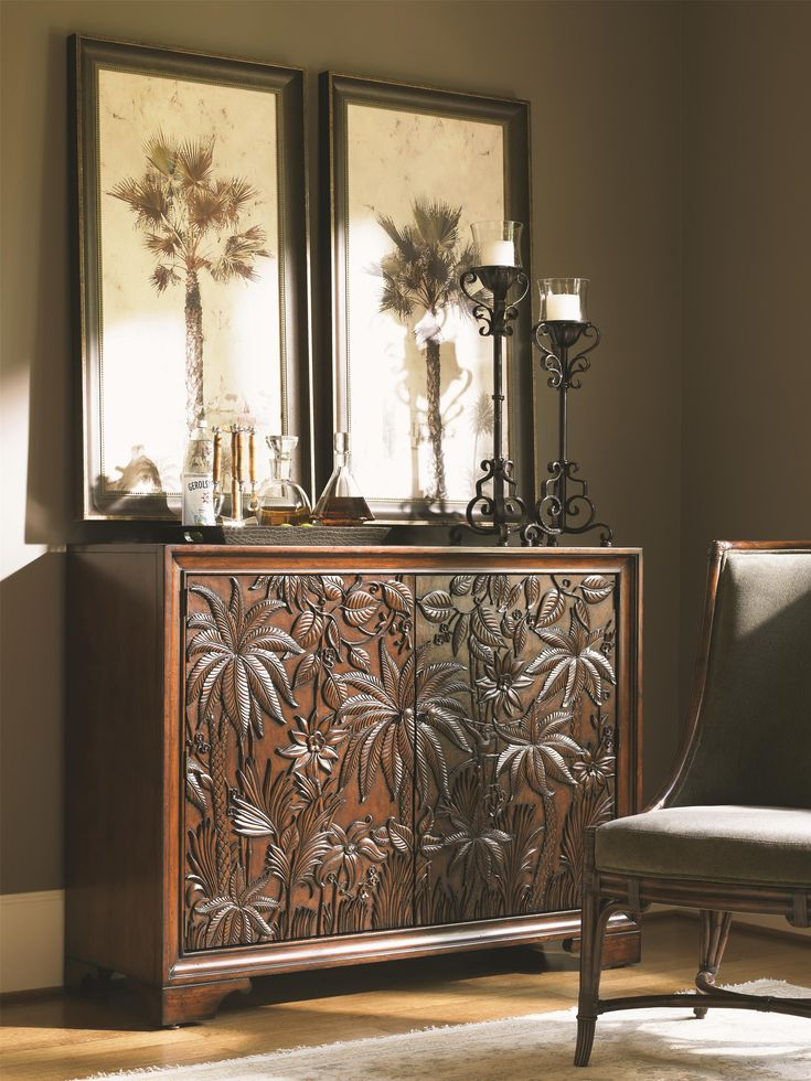 Add pizzazz to any room with this gorgeous, carved tropical chest.  A rich, dark Sumatra finish makes the perfect complement for this lavish design. A staggering amount of interior storage makes this a handy chest to add to your bedroom, bar, living room, or hall.
