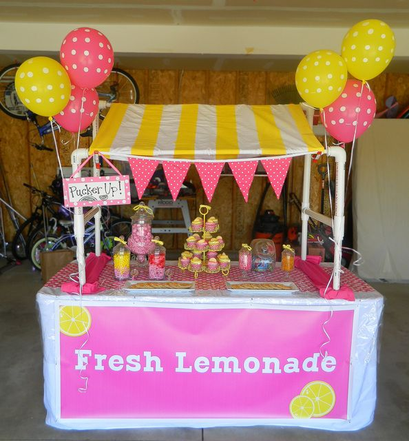 Cute Lemonade stand at a  #pinklemonade #party