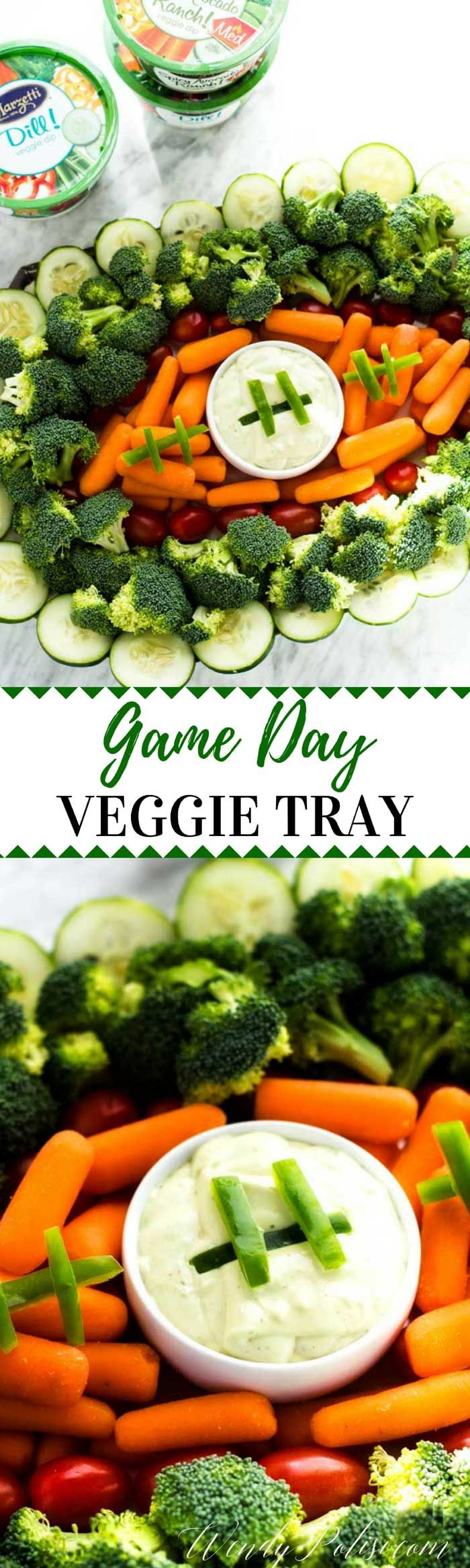 This Game Day Veggie Tray is a great way to bring resolution-friendly vegetables to your football celebration! #Marzetti #ad