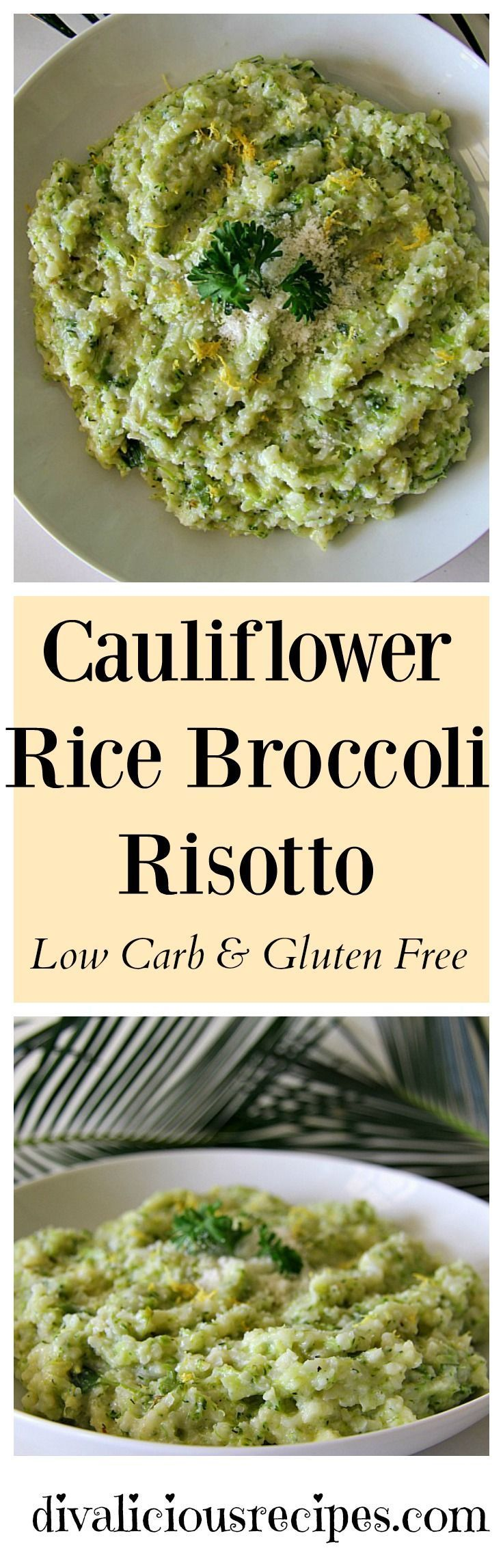 This cauliflower rice risotto is also made with broccoli rice. It's a tasty grain free dish that is quick to make too. Low carb and gluten free. Recipe: http://divaliciousrecipes.com/2017/02/08/cauliflower-rice-broccoli-risotto/