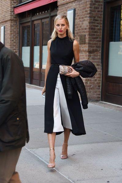 White cullote with black split coat