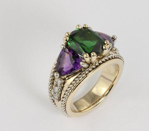 Green Tourmaline, Amethyst, and Diamond Ring