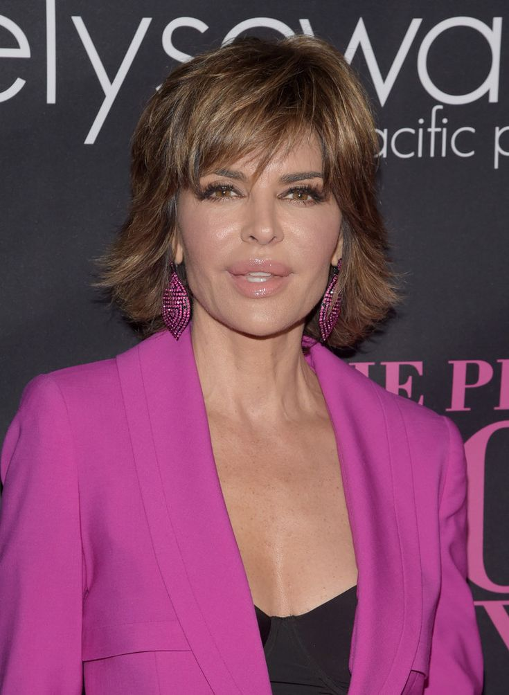 110+ Lisa Rinna looks, including Layered Razor Cut, Pantsuit, Strapless Dress and more.