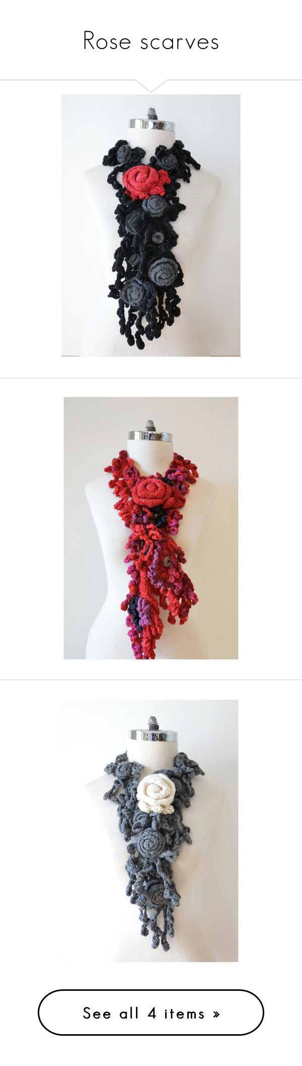 """""""Rose scarves"""" by valeriebaberdesigns ❤ liked on Polyvore featuring red scarves, pink scarves, red shawl, pink shawl, ivory shawl, merino wool scarves, gray scarves, floral scarves, grey scarves and accessories"""