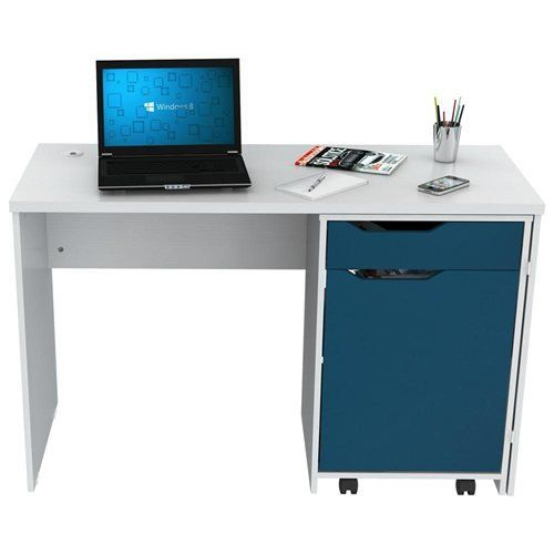 Inval America Desk with Swing Out Storage. Laminated in double-faced durable melamine which is stain, heat and scratch resistant. Writing desk with ample storage space, 1 drawer. Comes with a swing out storage cabinet. Finished in Laricina / Mediterranean blue. Solid engineered wood.