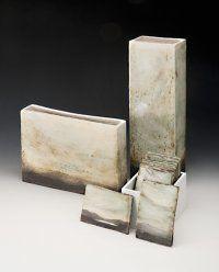 Amanda Hale: Contested Landscape, 2010, slab-built, midrange, coloured slips, copper oxide wash, tallest h. 45cm; photo: Steve Cummings; winner, ceramic award, Gosford Art Prize 2010