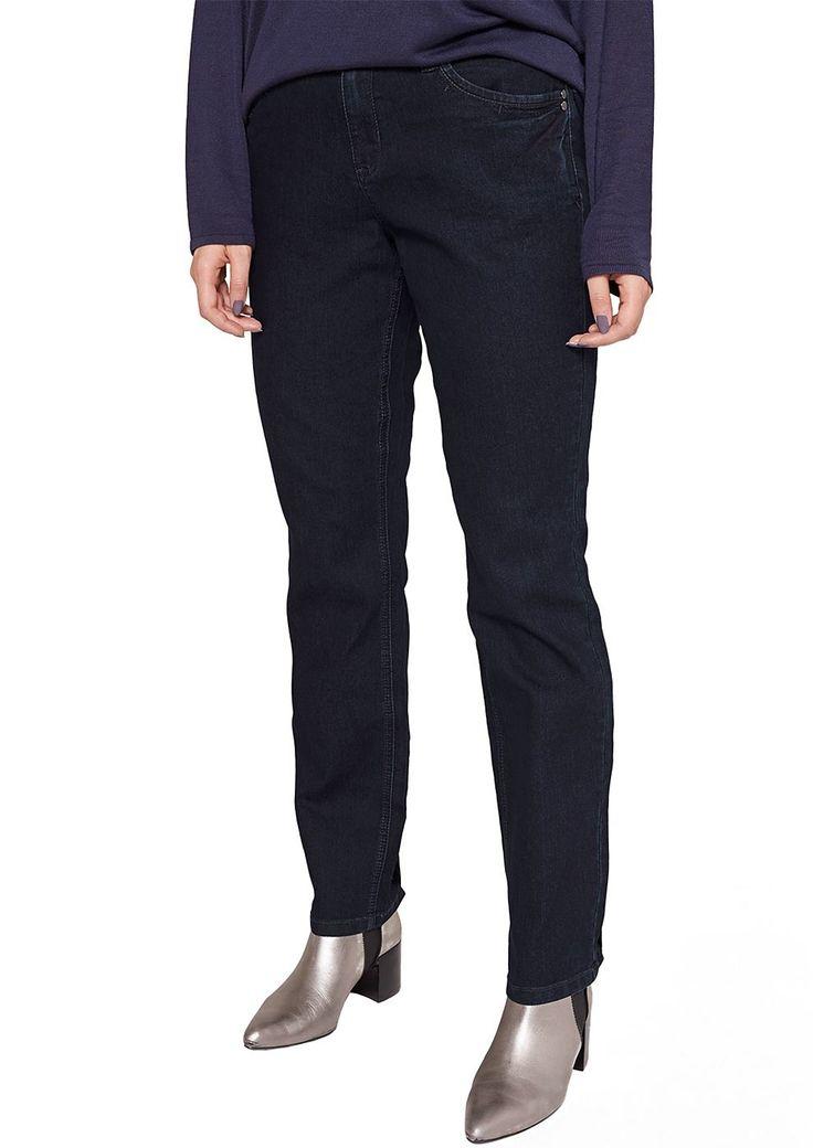 """Jeans Denim mit dezenter Waschung. Klassische 5-Pocket-Form mit paspeliertem Münztäschchen. Figurbetonte Passform """"Kurvig"""" mit hohem Rückenbund und schmalem Bein für eine ausgeprägte Hüfte, einen runden Po und stärkere Oberschenkel. Robuste Denim-Ware aus einer Baumwoll-Mischung mit Elasthananteil. Ein Klassiker, der sich vielseitig kombinieren lässt und durch seine kräftig dunkle Färbung beson..."""
