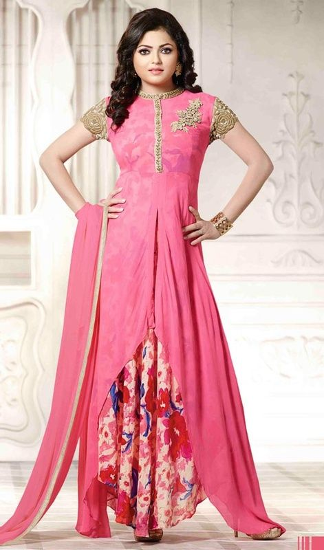 Ameliorate your ethnic looks like Drashti Dhami in this embroidered georgette churidar suit. The lace, resham and stones work appears to be like chic and ideally suited for any occasion. #Pinkcolorgeorgettedress #madhubaladressesdesign #eveningwearsuit