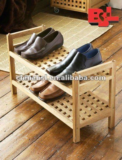 2 madera niveles de zapatos rack estante organizador de - Organizador de zapatos ...