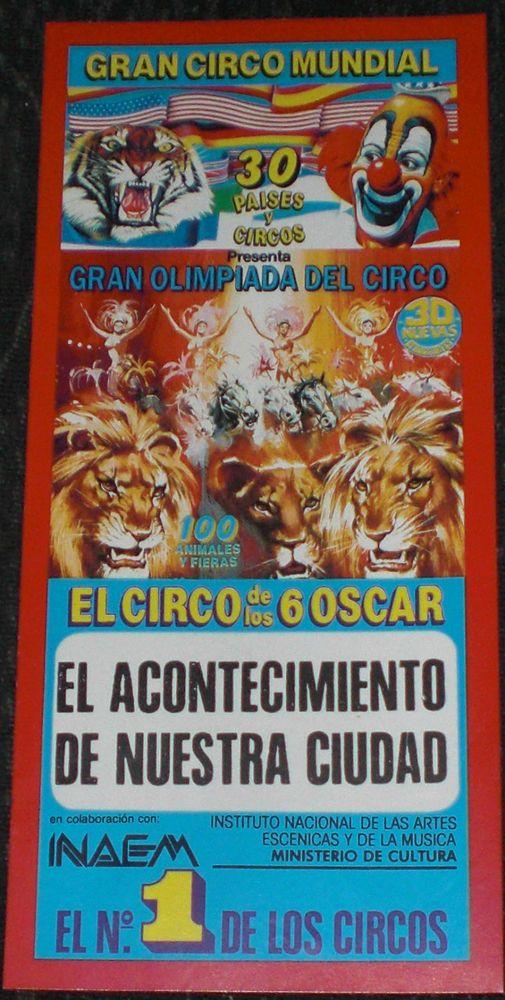 Entrada para el Circo :   Gran Circo Mundial  Invitación especial  En pesetas  Años 90   DAMORE   Visita Tú Tienda eBay: Cancio-Damore   ¡No olvides incluirme en tu lista de favoritos!   SELECCIONE SU ENVIO 24H , 48H , DE 2 A 5 DIAS ó Carta Certificada  VALIDO PARA PENINSULA Y BALEARES, EN ESTE ULTIMO NO OFRECEMOS 24H  PAGA UN SOLO ENVIO CERTIFICADO      EN TODOS NUESTROS CROMOS     CON NUMERO DE SEGUIMIENTO   ¡Mira mis otros artículos!   SI TE GUSTA UN ARTÍCULO PERO TE PARECE DEMASIADO CARO…