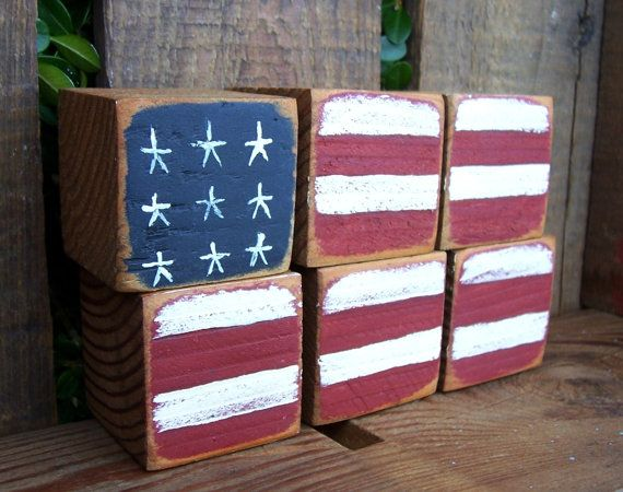 Shabby Chic Rustic Old Glory Wooden Blocks by okawvalleybirdhouses, $10.00