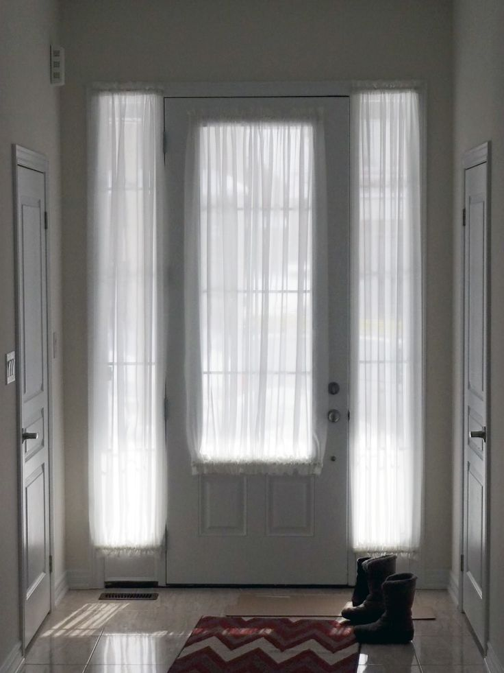 Door sheers curtains for french door french door for Front door window curtains