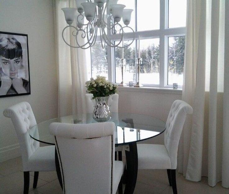 46 Elegant Dining Room Glass Table Decor Ideas Glasbasteln Tk Glas Basteln Weisse Stuhle Wohnung Wohnen