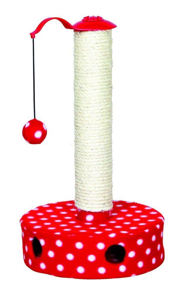 Pet Kitten Cat Scratching Post Hanging Ball Toy Red White Dot Fleece Cover Sisal