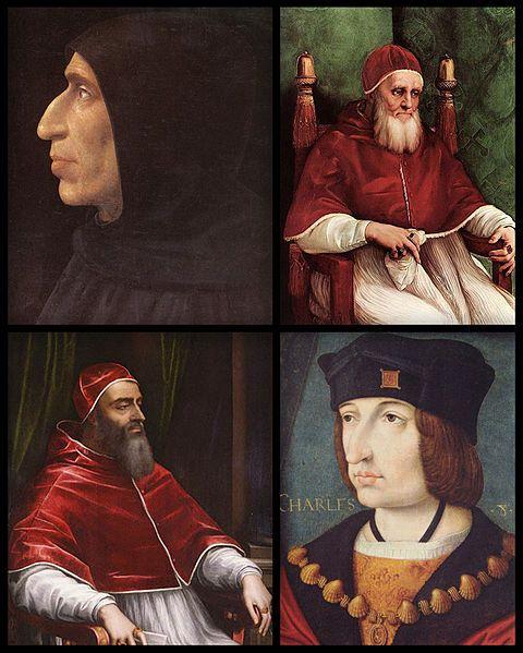 G. Savonarola, Pope Julius II, Pope Clement VII and King Charles VIII