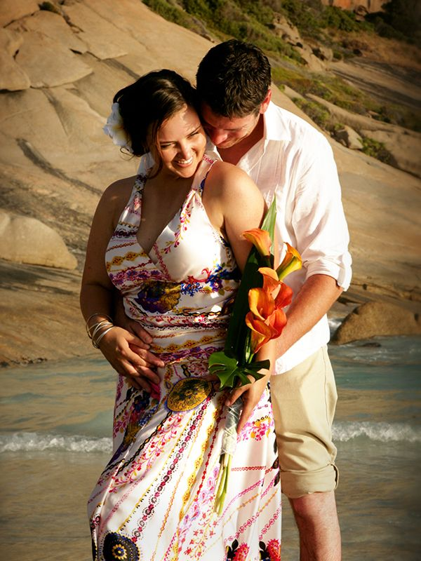 Esperance WA Wedding Photographer, beach wedding, Twilight Cove, colourful wedding dress, casual wedding