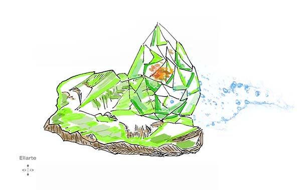 Ink, watercolor: minerals inclusion