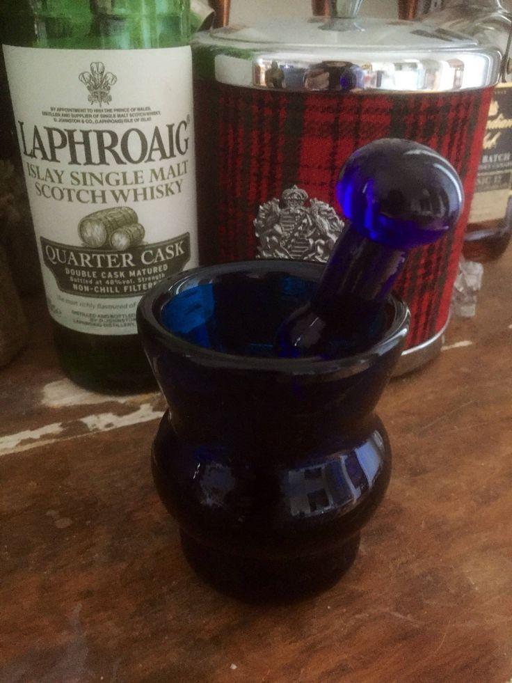 Vintage/cobalt blue/glass /mortar and pestle/mortar and pestal/crystal/rare/kitchen/Scandinavian/Danish by WifinpoofVintage on Etsy