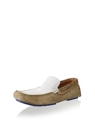 50% OFF Bacco Bucci Men's Adani Two Tone Suede Driver Slip On (Tan/Bone)