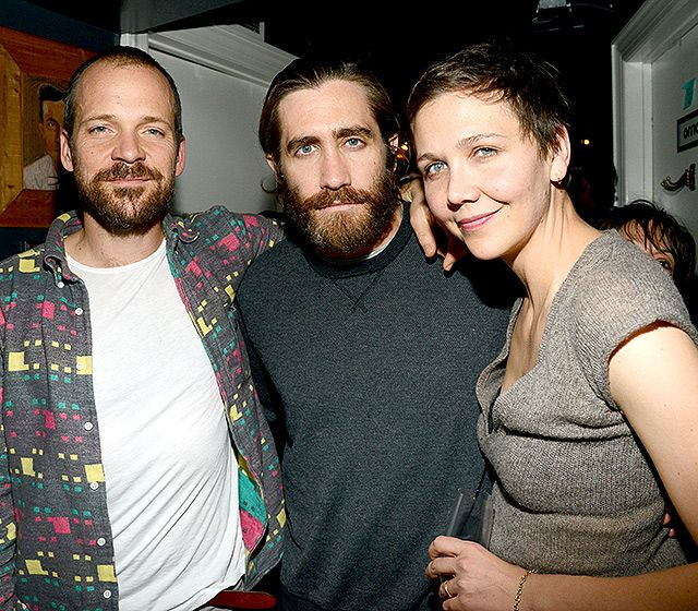 Maggie Gyllenhaal and her husband Peter Sarsgaard with her brother Jake Gyllenhaal (Feb 6, 2014)