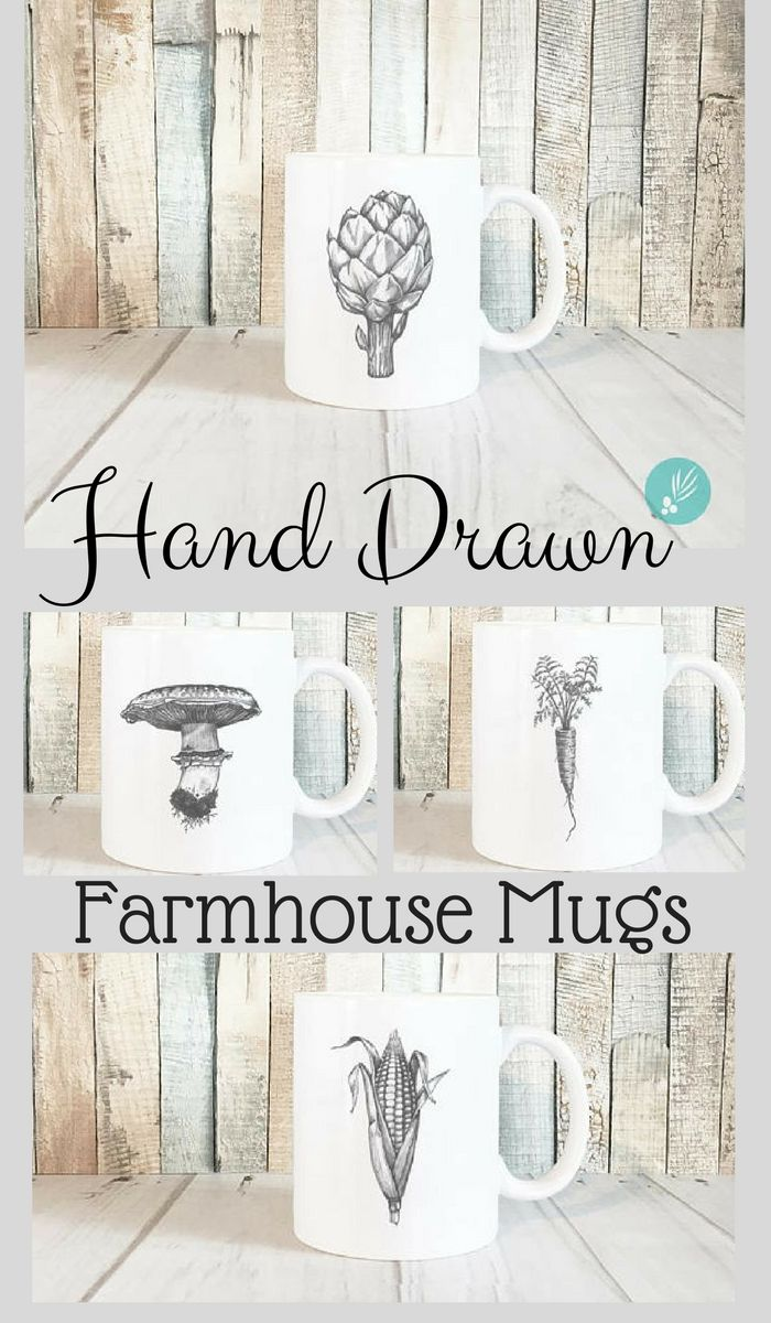Etsy | Farmhouse Mugs featuring original designs by Amy at #JuniperWylde #farmhousestyle #farmhousekitchen #vegetablegarden #affiliate #kitchen #mugs #coffeemugs #teacup