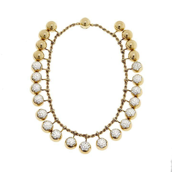 COLLANA, JACQUES TIMEY FOR HARRY WINSTON, AMERICA, ANNI CINQUANTA -  oro giallo e diamanti #2 ASTA ONLINE Gioielli del Novecento - Lotto n. 32 #HarryWinston #jacquestimey #golden #gold #diamonds #luxury #florence