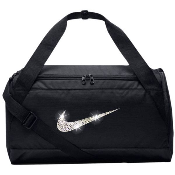 Bling Nike Brasilia Gym Bag with Swarovski Crystal Bedazzled Swoosh... ($85) ❤ liked on Polyvore featuring bags, nike bags, gym bag and nike