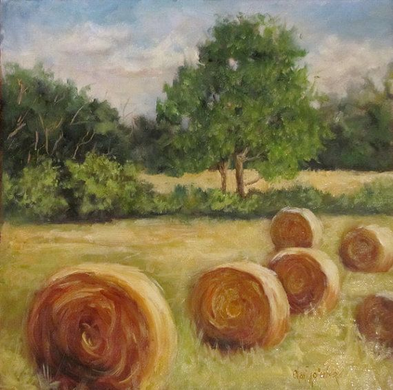 Original Landscape Oil Painting of Round Bales of by ChatterBoxArt