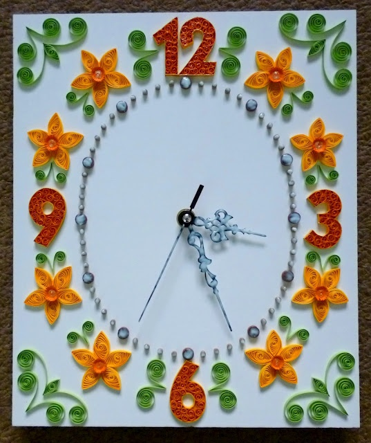 A quilled clock.