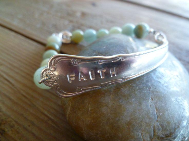 Faith! Armbånd av t skje og Amasonite. www.epla.no/shops/byjanem/ Facebook.com/ByJaneM/ Bracelets made from the shaft of an old spoon.