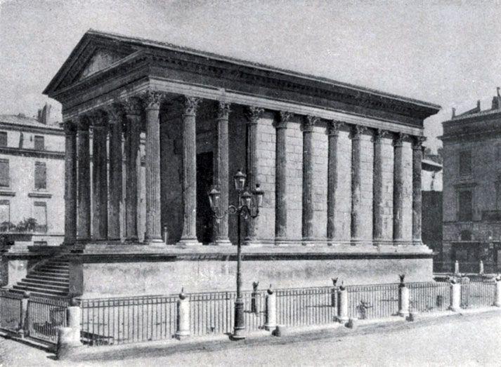 266 а. Римский храм — так называемый Квадратный дом — в Ниме (южная Франция). Начало 1 в. н. э.