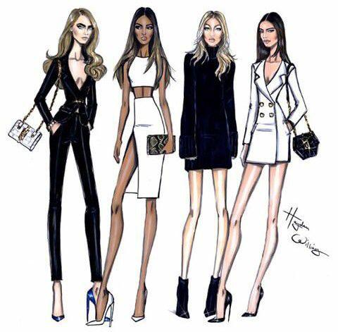 Art by Hayden Williams. FASHION sketch features Cara Delevingne, Jordan Dunn & Gigi Hadid