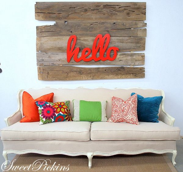 gorgeous reupholstered couch: Wall Art, Wall Decor, Living Rooms, Welcome Signs, Hello Signs, Wood Wall, Bright Pillows, Barns Wood, Bright Colors