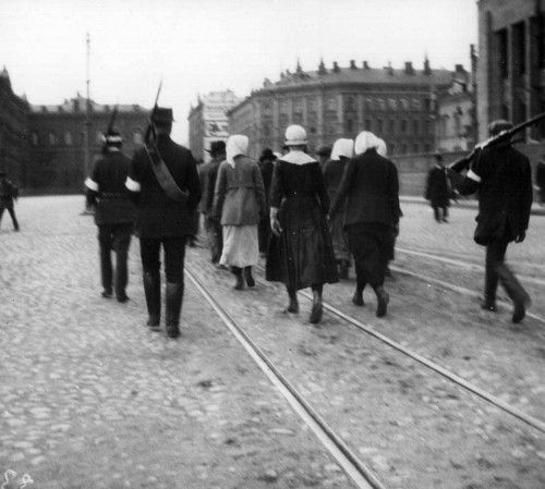 Finnish Red Guard Prisoners in Helsinki - 1918. My Finn Families left Finland to avoid the Russian invasion.