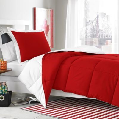 Micro Splendor White/Red Reversible Comforter Set from Bed Bath & Beyond - Minecraft Red Bed with White