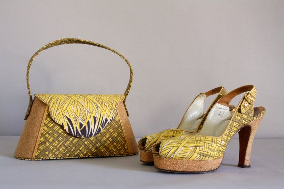 Hey, I found this really awesome Etsy listing at https://www.etsy.com/listing/206055887/vintage-40s-platforms-1940s-purse-basket